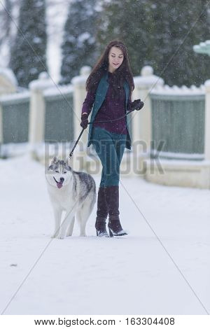 Woman and Her Lovely Husky Dog Taking a Stroll Together Outside.Vertical Image