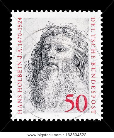 GERMANY - CIRCA 1974 : Cancelled postage stamp printed by Germany, that shows Hans Holbein.