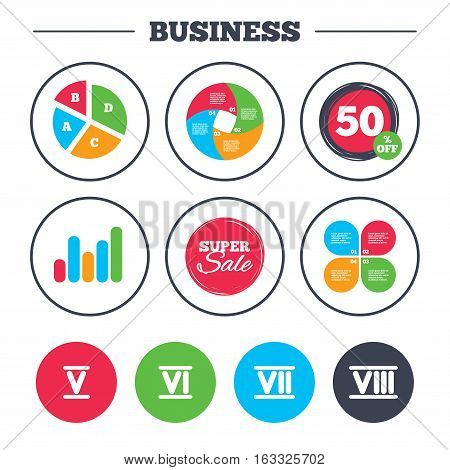 Business pie chart. Growth graph. Roman numeral icons. 5, 6, 7 and 8 digit characters. Ancient Rome numeric system. Super sale and discount buttons. Vector