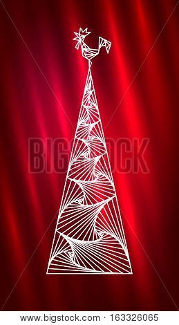 Christmas tree and rooster. Abstract new year design with white line pattern. Northern Lights background