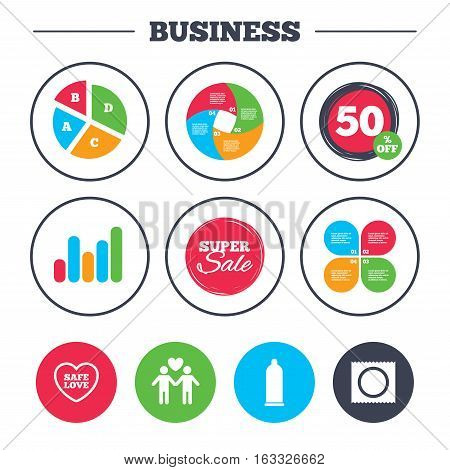 Business pie chart. Growth graph. Condom safe sex icons. Lovers Gay couple signs. Male love male. Heart symbol. Super sale and discount buttons. Vector