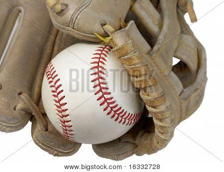 Closeup de Hardball em luva de beisebol