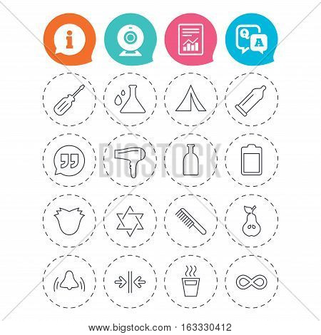 Universal icons. Camping tent, bottle and hot coffee drink. Hair dryer, battery and david star. Screwdriver tool, quotes and camping tent. Information, question and answer icons. Vector