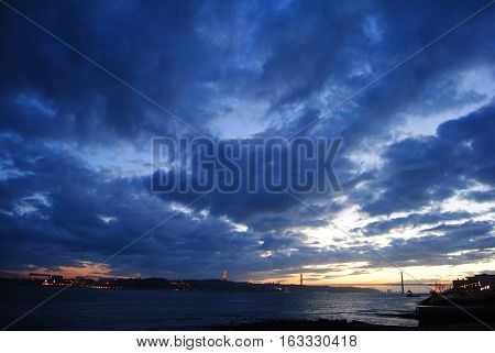 View of sunset skies in Lisbon, Portugal