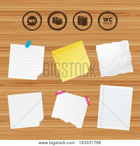 Business paper banners with notes. Toilet paper icons. Gents and ladies room signs. Paper towel or kitchen roll. Speech bubble symbol. Sticky colorful tape. Vector
