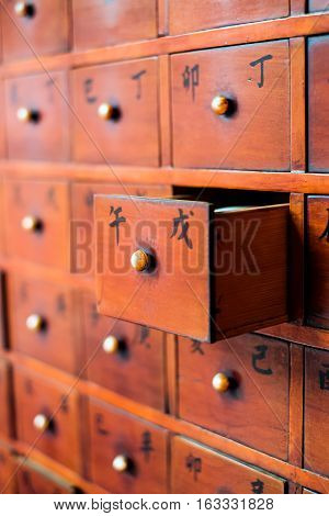 Asia culture concept image - an opened Chinese fortune wooden box/drawer in traditional temple(Chinese Translation on each box : those means Chinese Stems-and-Branches system)