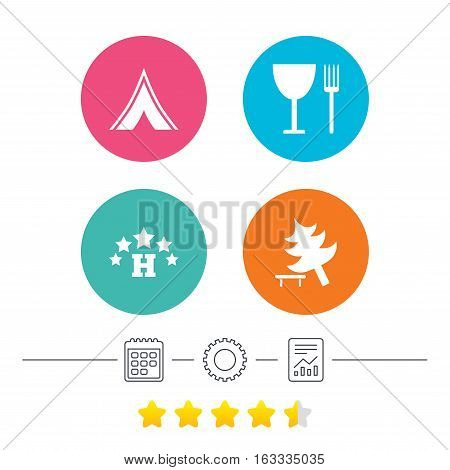 Food, hotel, camping tent and tree icons. Wineglass and fork. Break down tree. Road signs. Calendar, cogwheel and report linear icons. Star vote ranking. Vector
