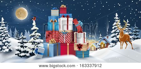 Vector background winter landscape with gifts in the foreground. Greeting card with snowy Christmas night.
