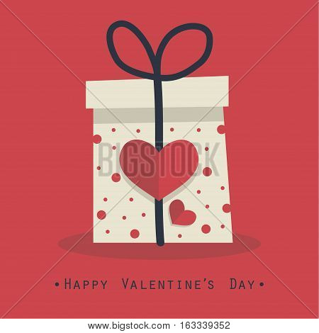 The cover design for the Valentine's day.The white gift box with red hearts on it and the phrase Happy valentine's day at the bottom of the image.
