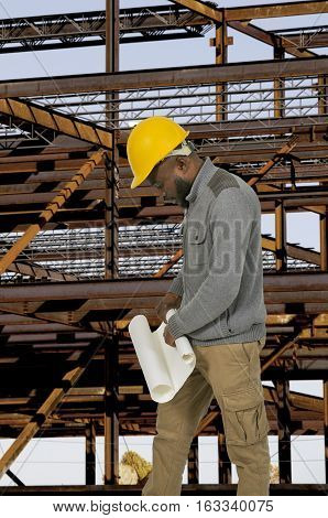 Black African American male construction worker a job site