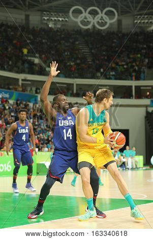 RIO DE JANEIRO, BRAZIL - AUGUST 10, 2016: Draymond Green of team United States in action during group A basketball match between Team USA and Australia of the Rio 2016 Olympic Games at Carioca Arena 1