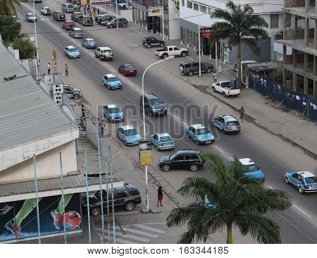 Top view of one of the main streets of Pointe-Noire, Congo Republic, february 2015