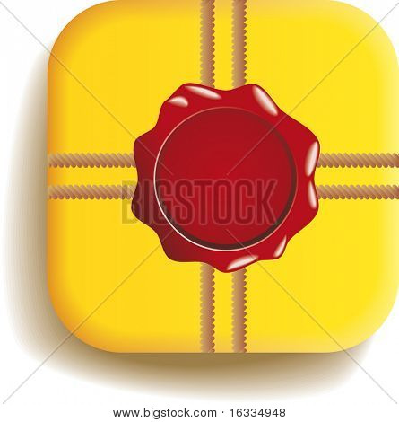 Vector yellow box with a Stamp. Top view.