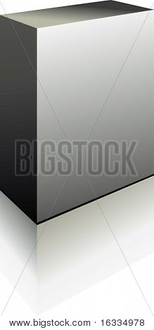 Vector Grey Perfect Blank 3d Box with reflection