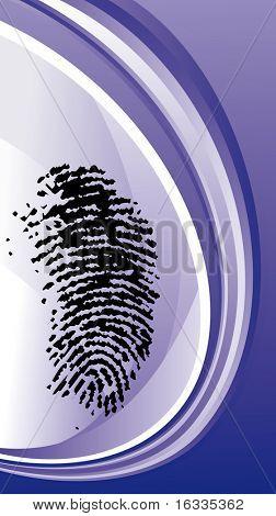 Fingerprint vector with blue wave background