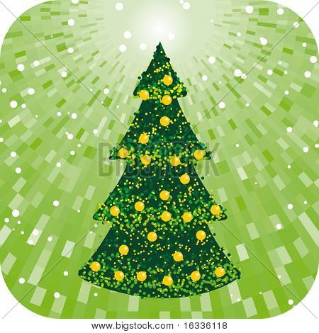 Abstract green christmas tree with shine background