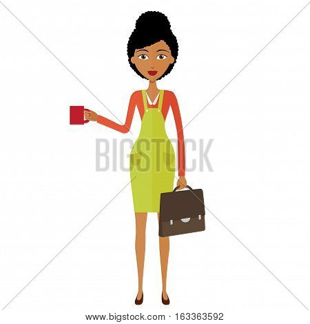 african american young businesswoman standing and drinking coffee