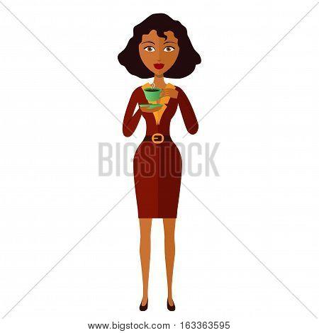 african american businesswoman drinking coffee vector eps 10 cartoon flat