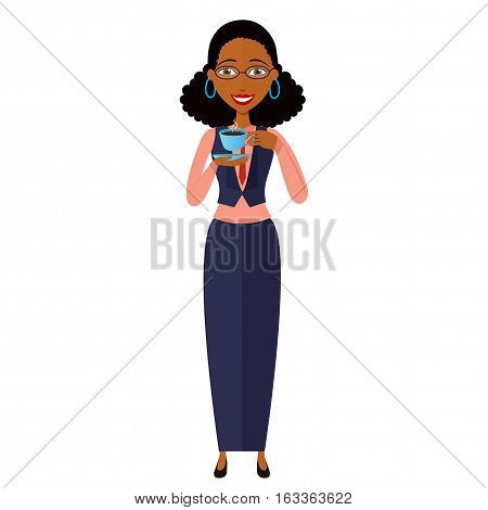 african young businesswoman standing and drinking coffee vector cartoon