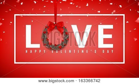 Happy Valentine's Day greeting web banner. Realistic wreath with hearts and red bow on tape isolated on red background. Vector illustration with confetti.