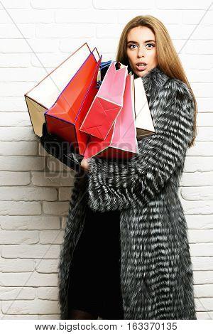 Fashionable Happy Woman In Fur