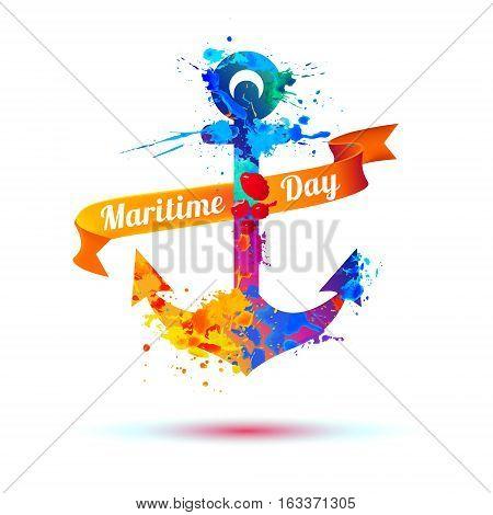 National Maritime Day. Splash Paint