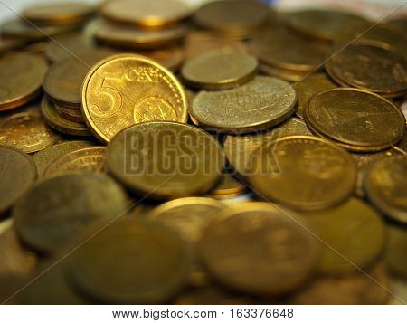 Coins and money. Pile of 5 cents euro.