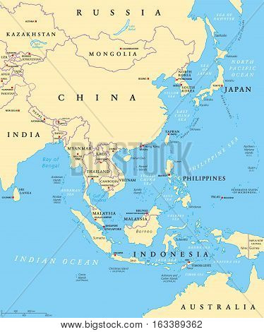 East Asia Political Map Capitals Vector Photo Bigstock - China political map in english