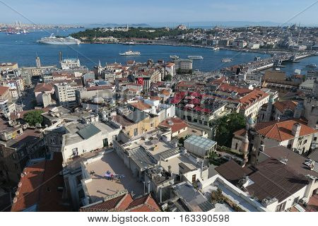 View from Galatatower in Istanbul at Galatabridge, the Golden Horn and Istanbuls Oldtown Sultanahmet