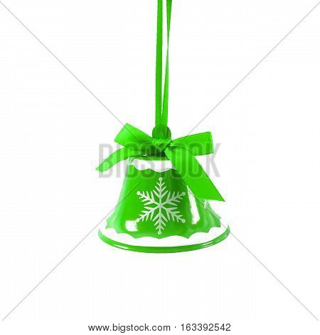 Green Christmas Jingle Bell Isolated On White Background New Year