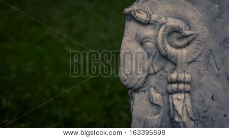 Ram statue in a park in florence italy