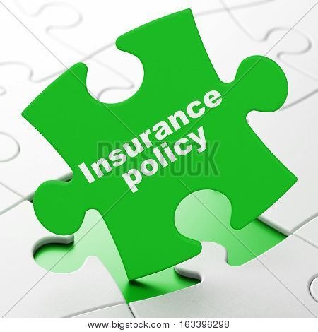Insurance concept: Insurance Policy on Green puzzle pieces background, 3D rendering