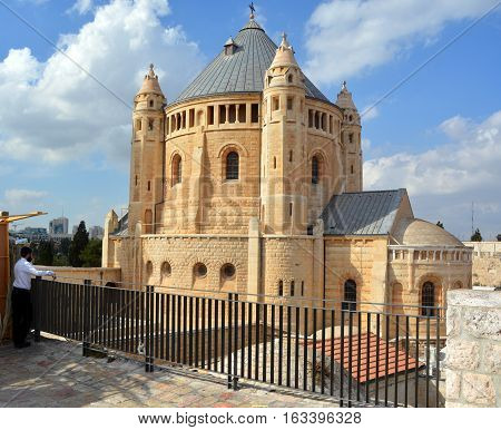 JERUSALEM ISRAEL 27 10 16: Hagia Maria Sion Abbey is a Benedictine abbey on Mount Zion formerly known as the Abbey of the Dormition of the Virgin Mary name changed in 1998 as church of Hagia Sion