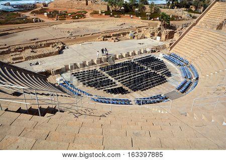 CAESAREA ISRAEL 01 11 2016: Caesarea roman theater at Caesarea Maritima is an Israeli National Park in the Sharon plain, including the ancient remains of the coastal city of Caesarea.
