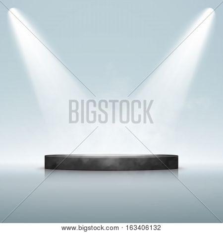 Illuminated Festive Stage Podium Scene for Award Ceremony. Vector illustration