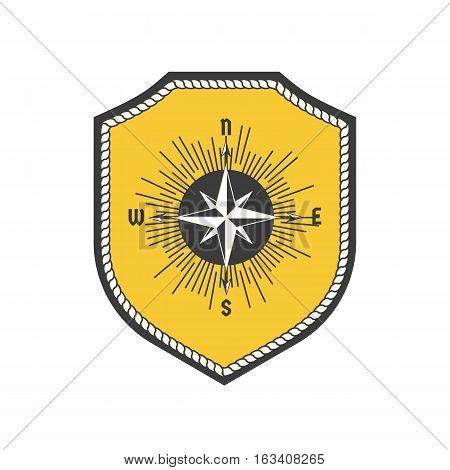 Maritime heraldic emblem. Vector nautical icon. Marine badge sticker element. Freehand drawn sailboat symbol. Stylized wind rosel sea compass sign. Sail advertisement label background, logo template