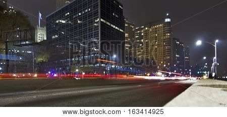 A long-exposure shot of Lake Shore Drive in Chicago Illinois.