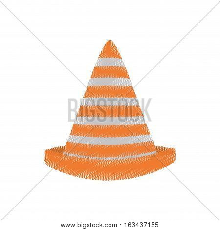drawing traffic cone caution sign vector illustration eps 10