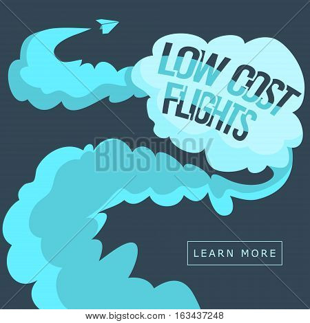 Low Cost Flights. Web Banner. Low Cost Tickets. Flight Offer. Learn More. Vector Cartoon Illustration.