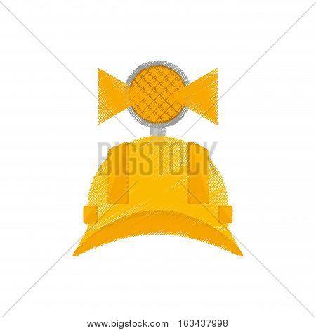 drawing helmet mining light protection vector illustration eps 10
