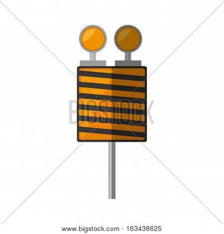 cartoon roadblock traffic light warning vector illustration eps 10