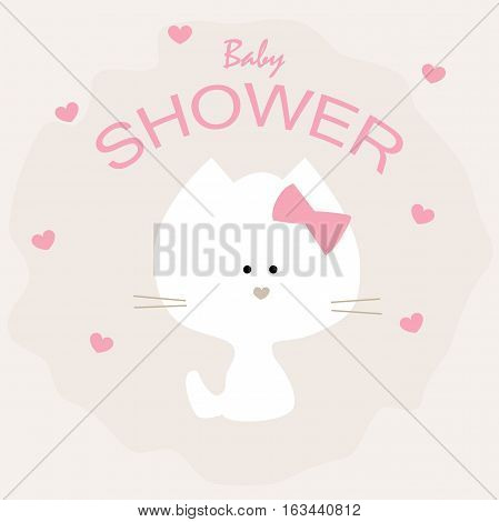 cute baby shower poster with a kitten. pattern for greeting or invitation. vector illustration. baby shower or arrival