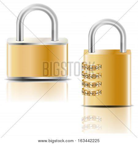 Golden padlock and golden combination padlock. Vector image.