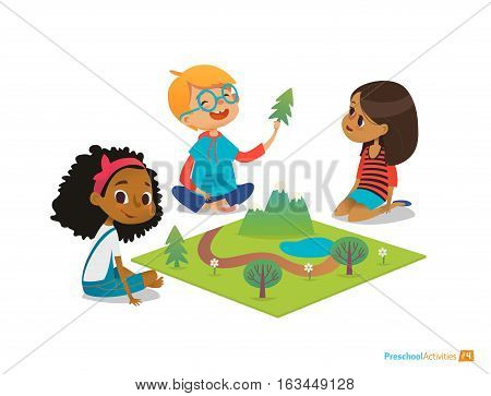 Children sitting on floor explore toy landscape, mountains, plants and trees. Playing and educational activity in kindergarten. Preschool environmental education concept. Cartoon vector illustration
