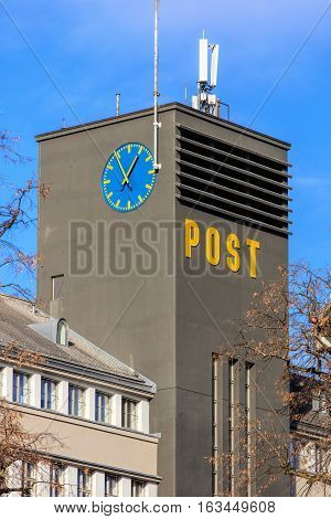 Zurich, Switzerland - 27 December, 2016: the tower of the Sihlpost building. Sihlpost is the largest post office in the city of Zurich, its building was built in 1927-1930.