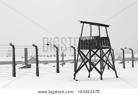 OSWIECIM, POLAND - DECEMBER 28, 2010: Auschwitz concentration camp was a network of German concentration camps and extermination camps built and operated by the Third Reich in Polish areas annexed by Germany during World War II