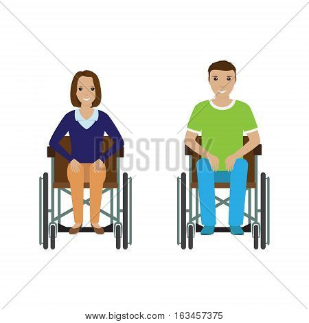 Disability people man and woman in wheelchair. Invalid male and female isolated on a white background. Flat style vector illustration.