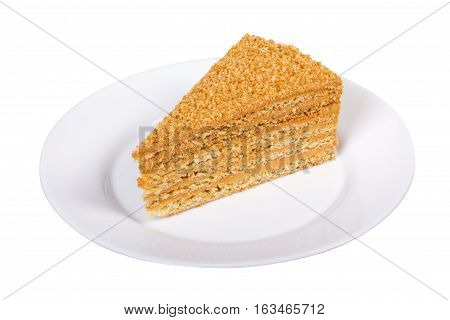 Honey cake isolated on white background with clipping path