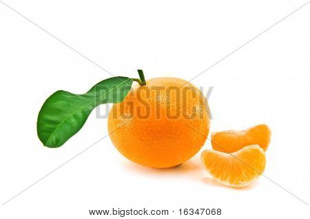 mandarin with leaf isolated on white