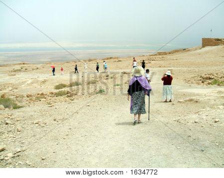 Tourists Walking In The Massada In Israel